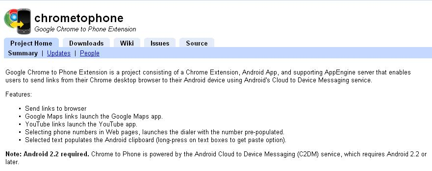 Google Chrome to Phone for Android