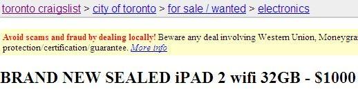 Craigslist iPad 2