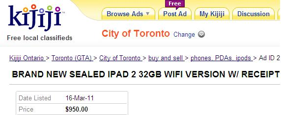 Kijiji iPad 2