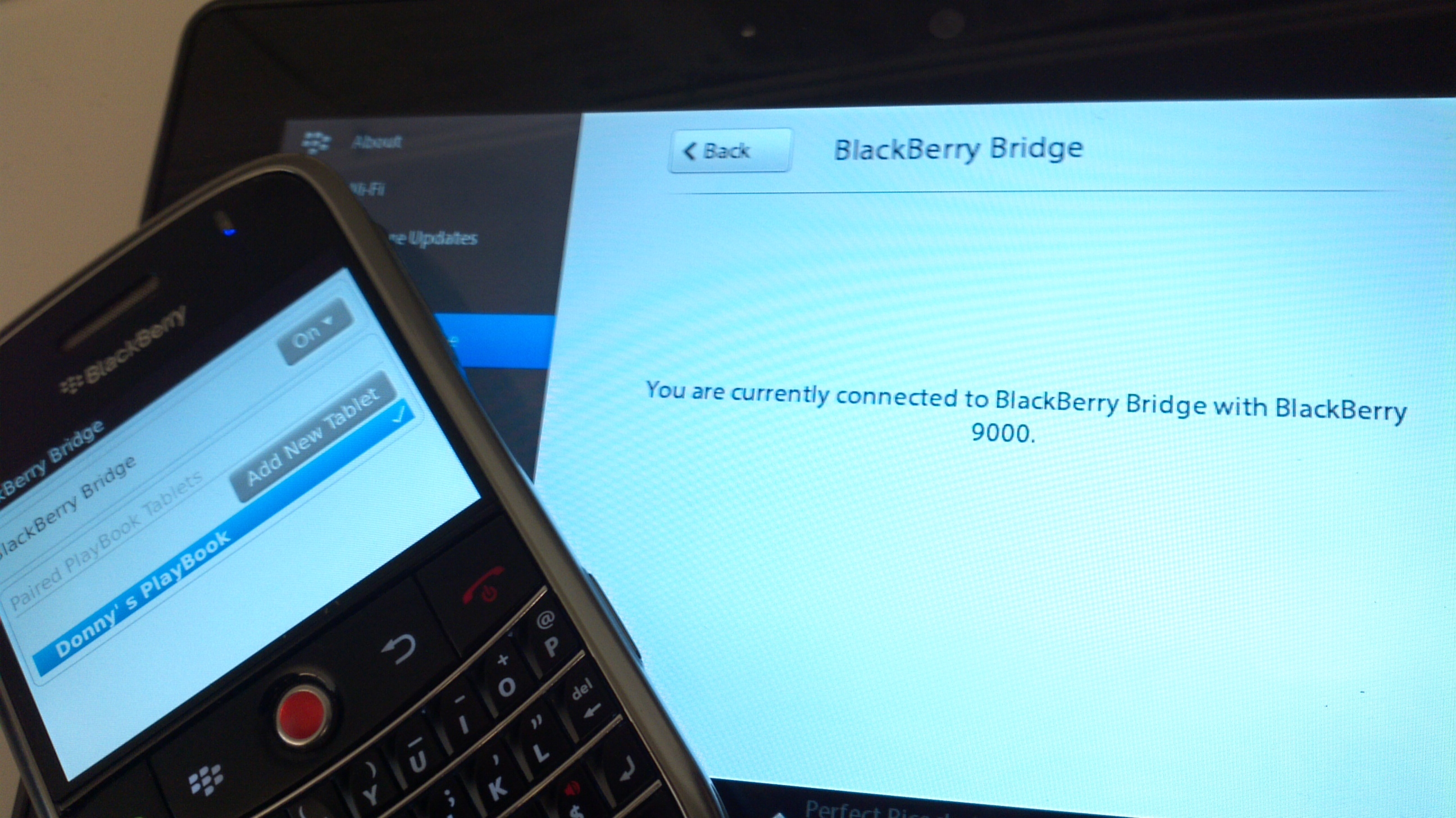 Blackberry Playbook and Blackberry Bridge feature