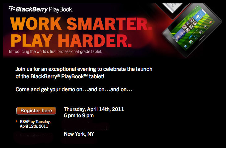 Blackberry Playbook Event taking place April 14 in New York City [Giveaway]