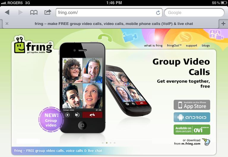 Fring offers Four Way Group Video Chat App