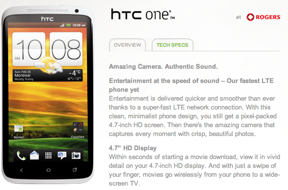 HTC One X coming to Rogers Canada