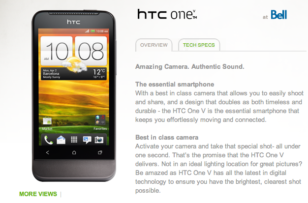 HTC One V coming to Bell